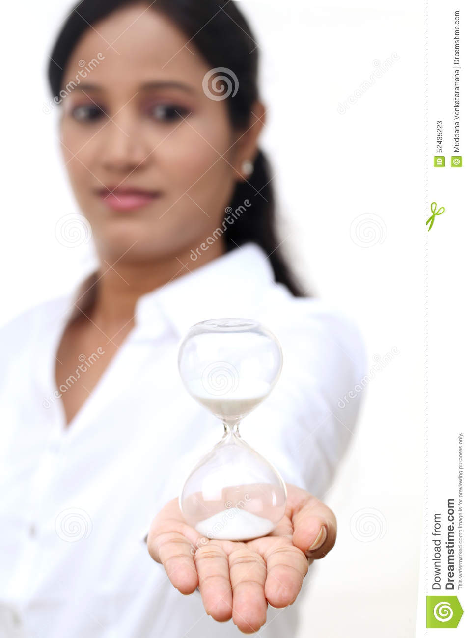 Teen Woman Holding Hourglass, Isolated On White Stock