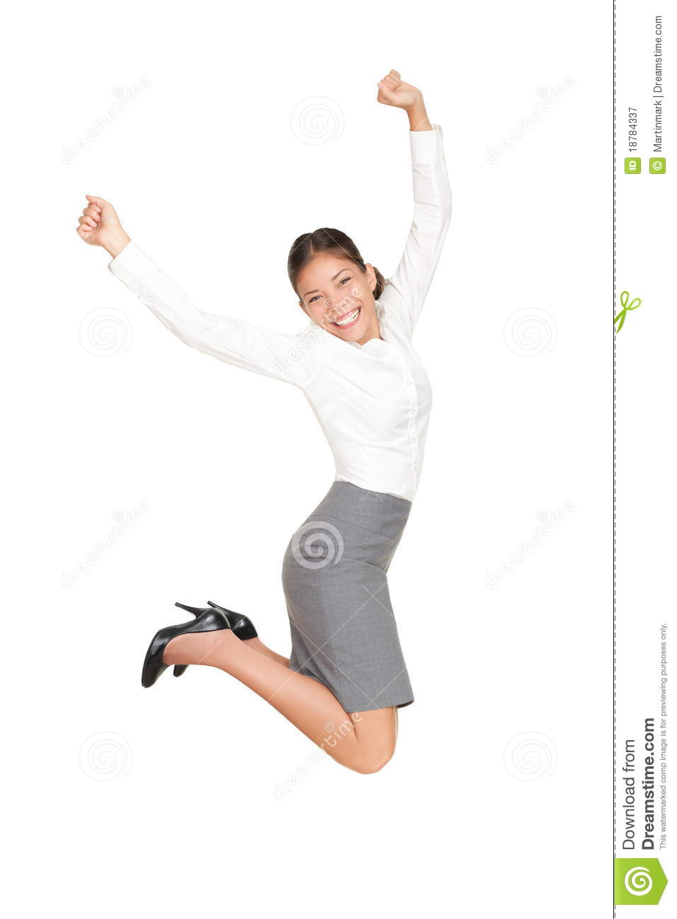 Business woman jumping in success