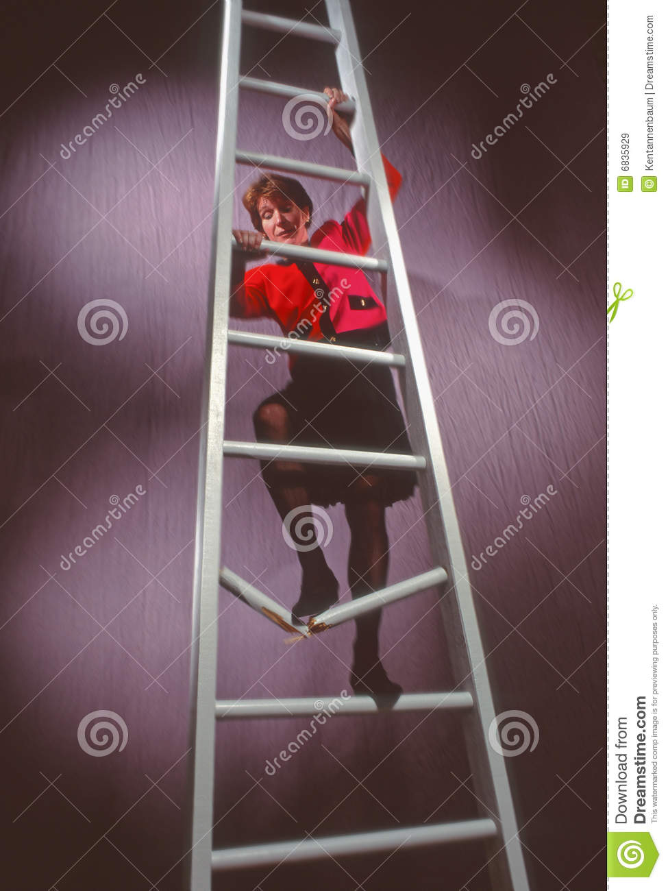 business woman on ladder with broken rung royalty free