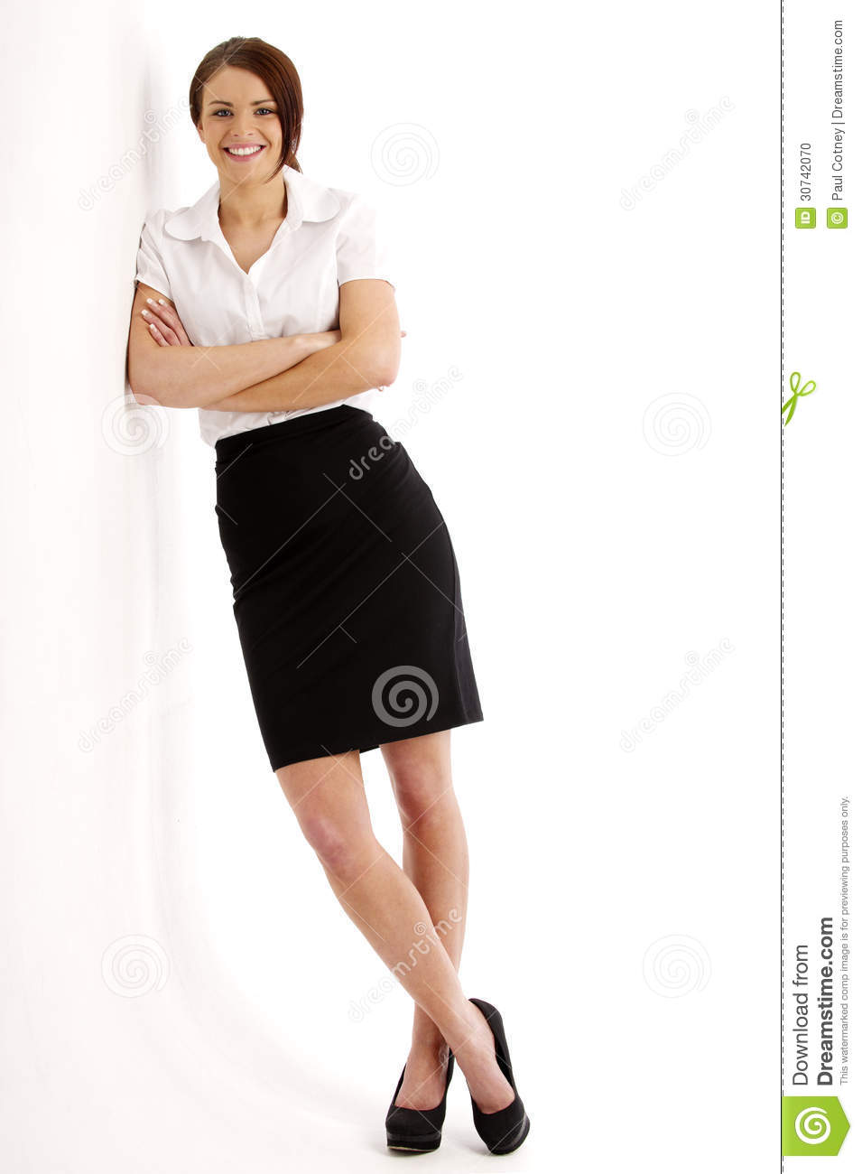 Business Woman Leaning Against A Wall Stock Photo - Image: 30742070