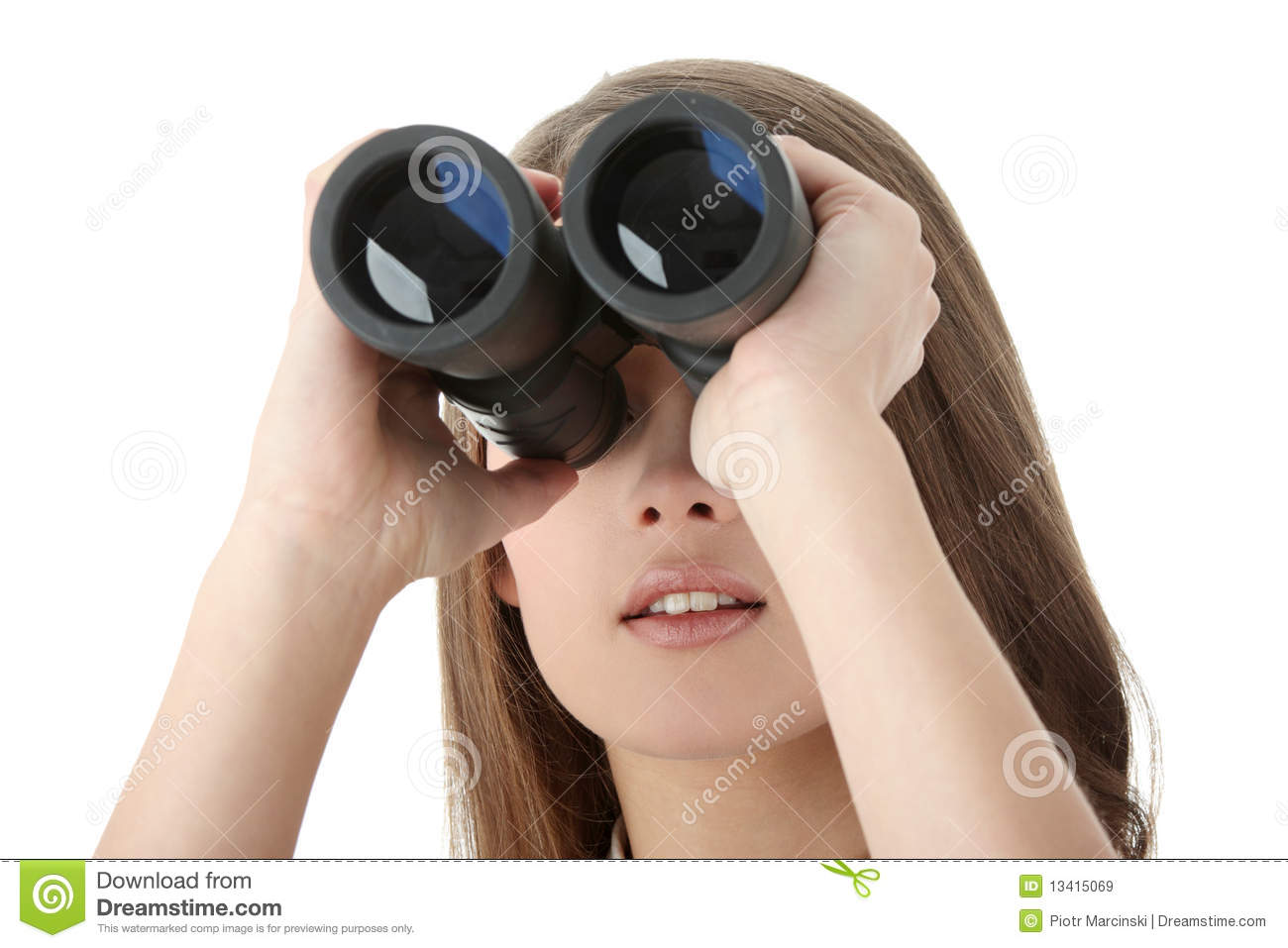 Business Woman Looking Through Binocular Royalty Free ...