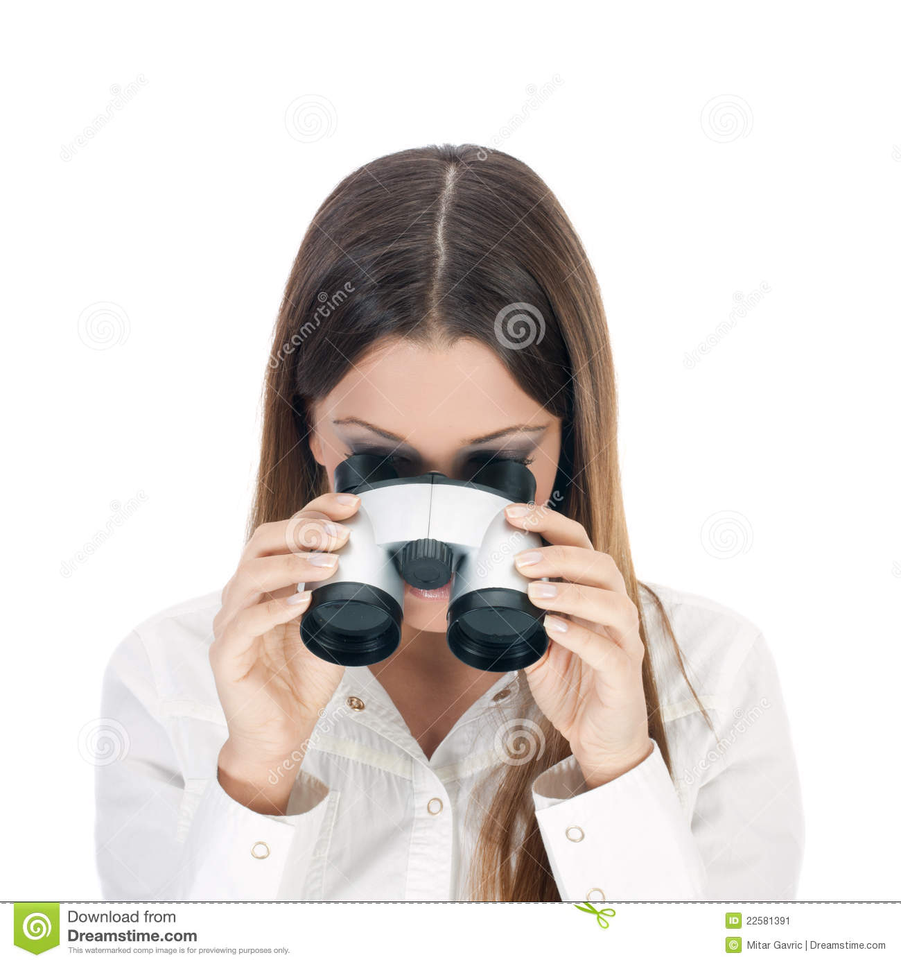 Business Woman Looking Through Binoculars. Stock Image ...