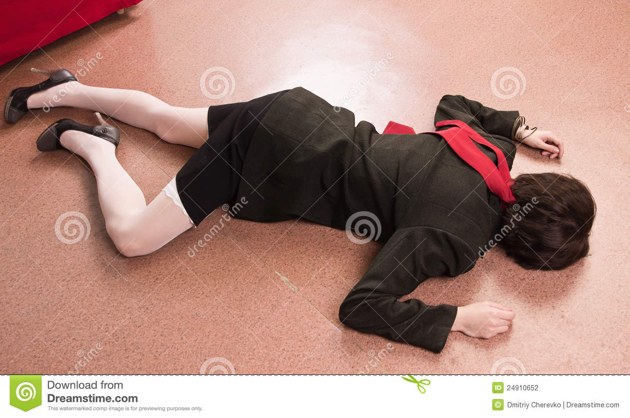 Business woman lying on the floor stock photography for On the floor
