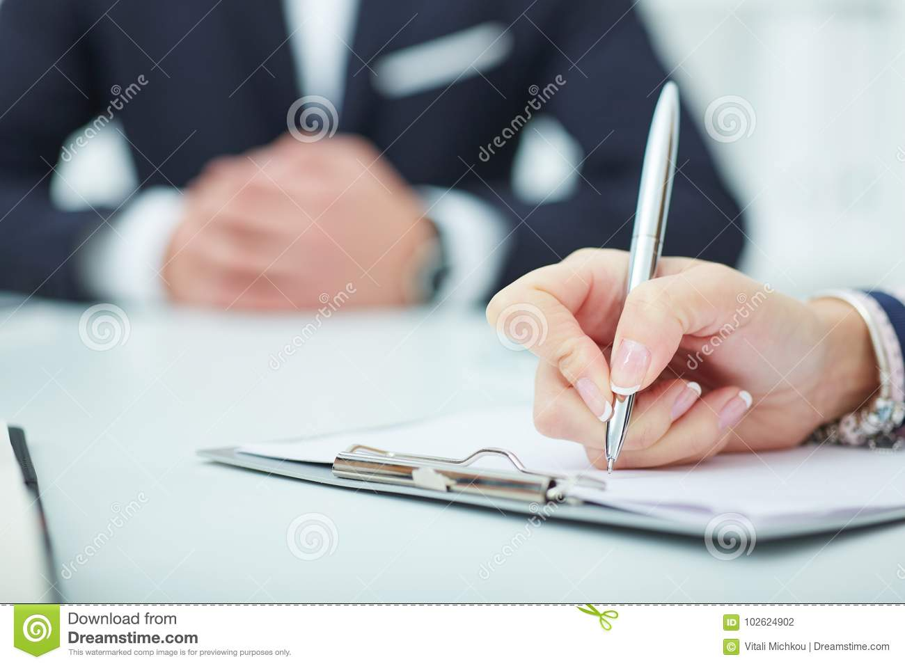 Business woman making notes at office workplace. Business job offer, financial success, certified public accountant concept.