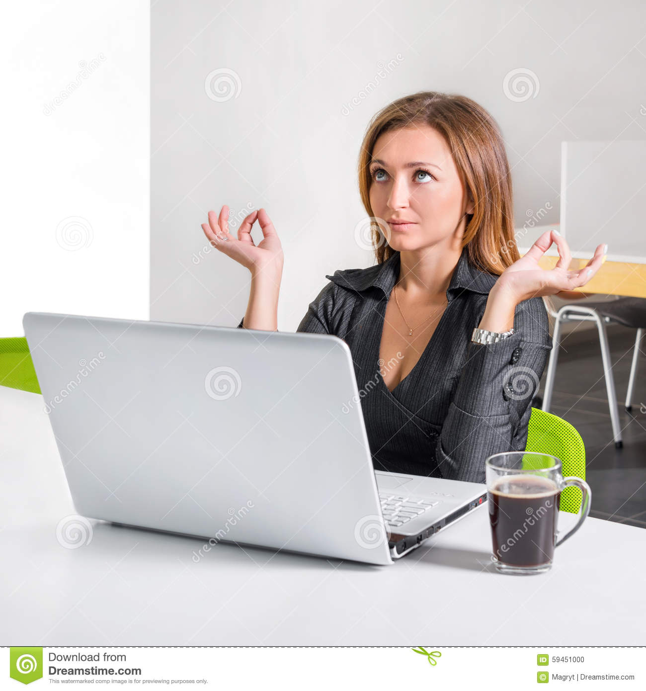 meditation office. Business Woman Meditating Near Laptop. Relaxed Office Worker Doing Yoga Meditation During A Coffee Break. Green Eco Healthy Stock Photo - Image Of S