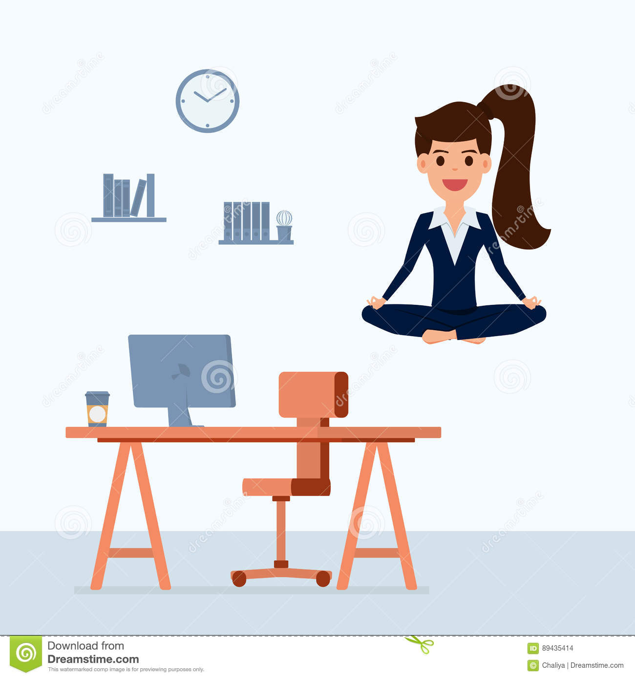 Business Woman Meditating In Peace Over The Office Table Time Management Stress Relief And Problem Solving Concepts Stock Vector Illustration Of Cartoon Concept 89435414