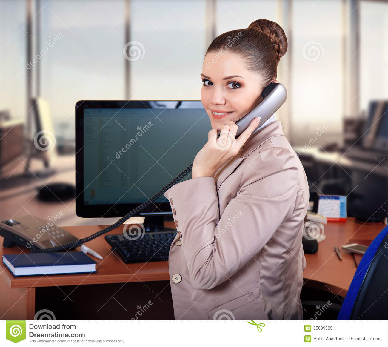 Business Woman In The Office Talking On The Phone Stock ... | 1300 x 1162 jpeg 135kB