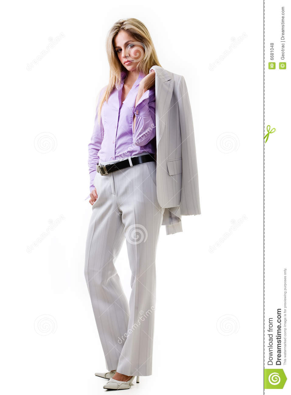 business woman in pant suit stock photo