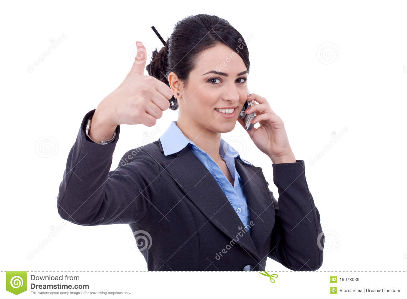 Business woman with phone and thumbs up