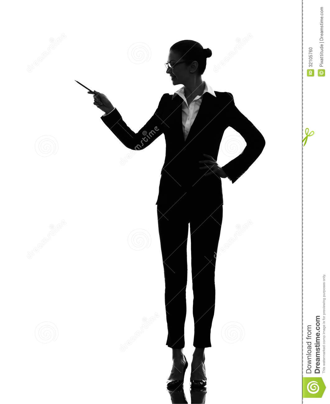 Business Woman Pointing Showing Silhouette Stock Photo - Image ...