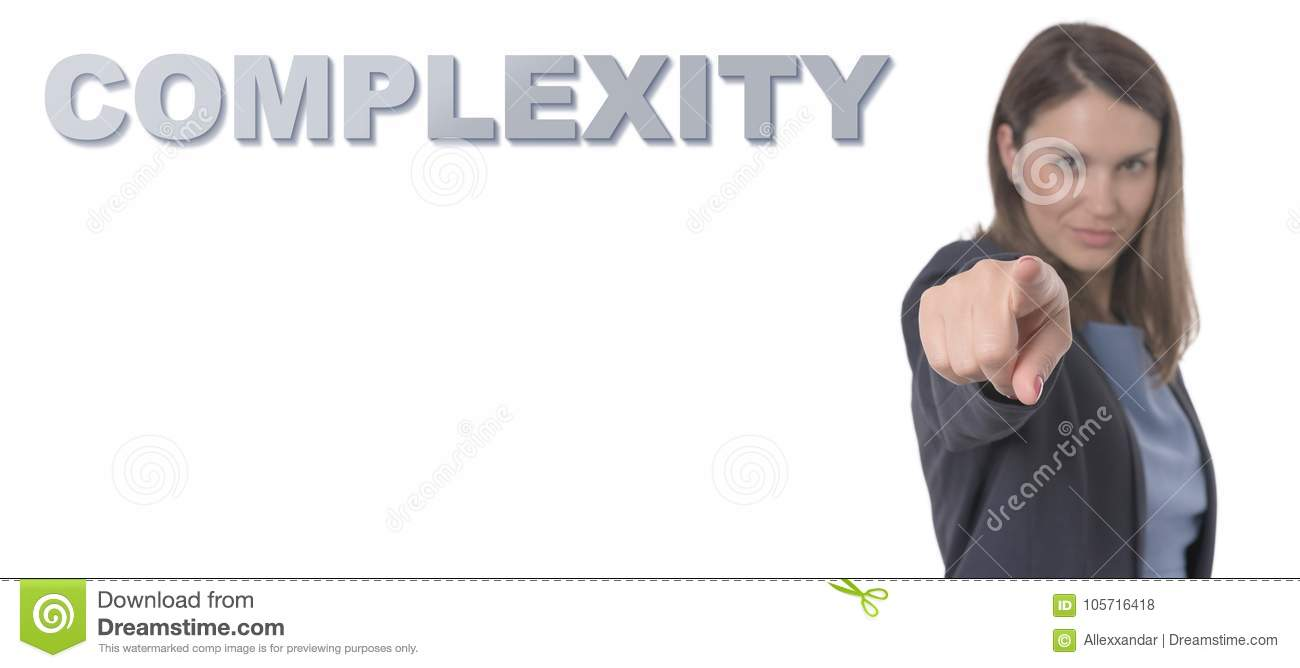 Business Woman pointing the text COMPLEXITY