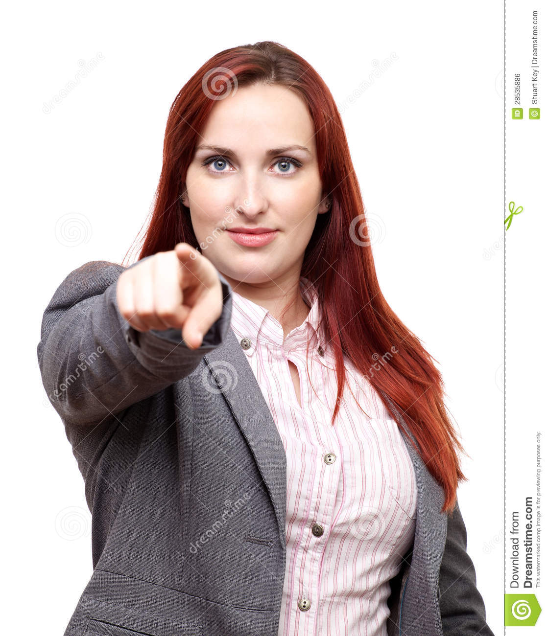 Business woman pointing at you
