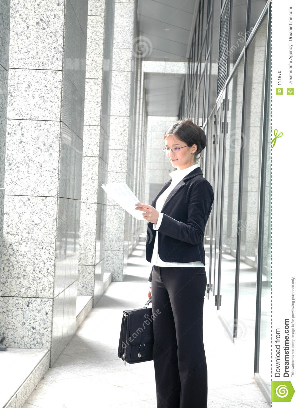 Business woman reading contract