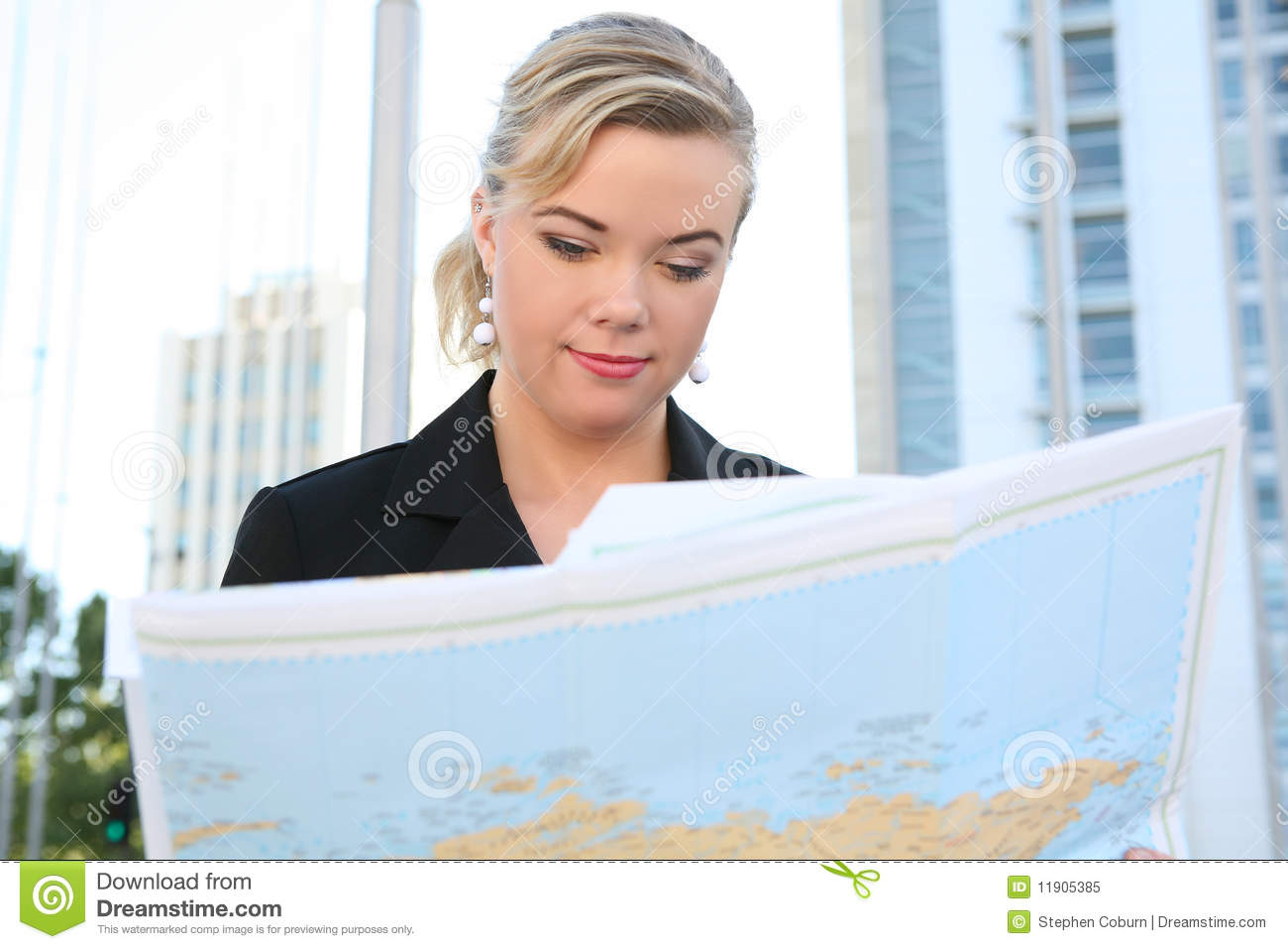 Business Woman Reading Map