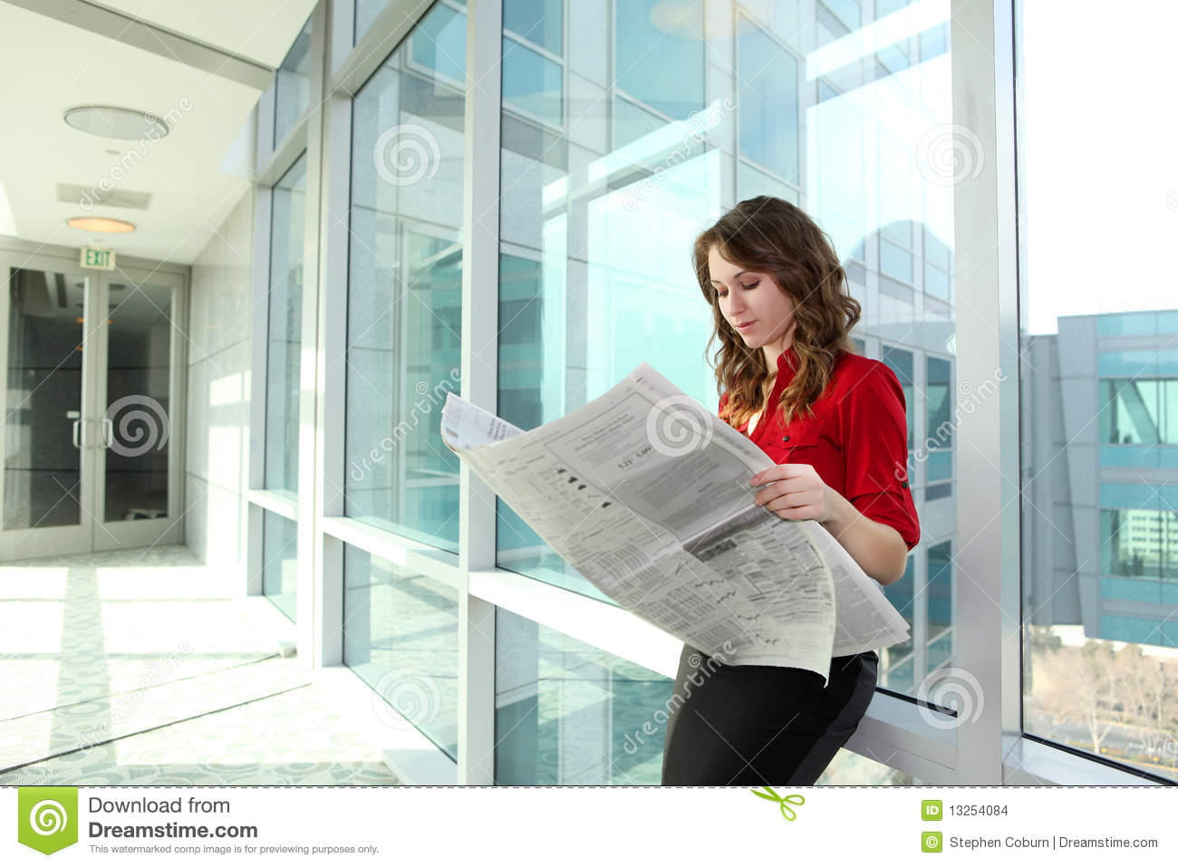 Business Woman Reading Newspaper Stock Images - Image ...