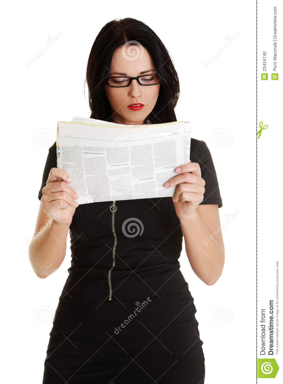 Business Woman Reading A Newspaper Stock Photo - Image ...