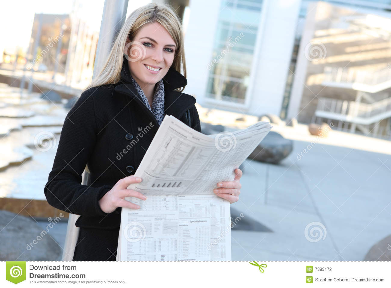Business Woman Reading Newspaper Stock Photography - Image ...