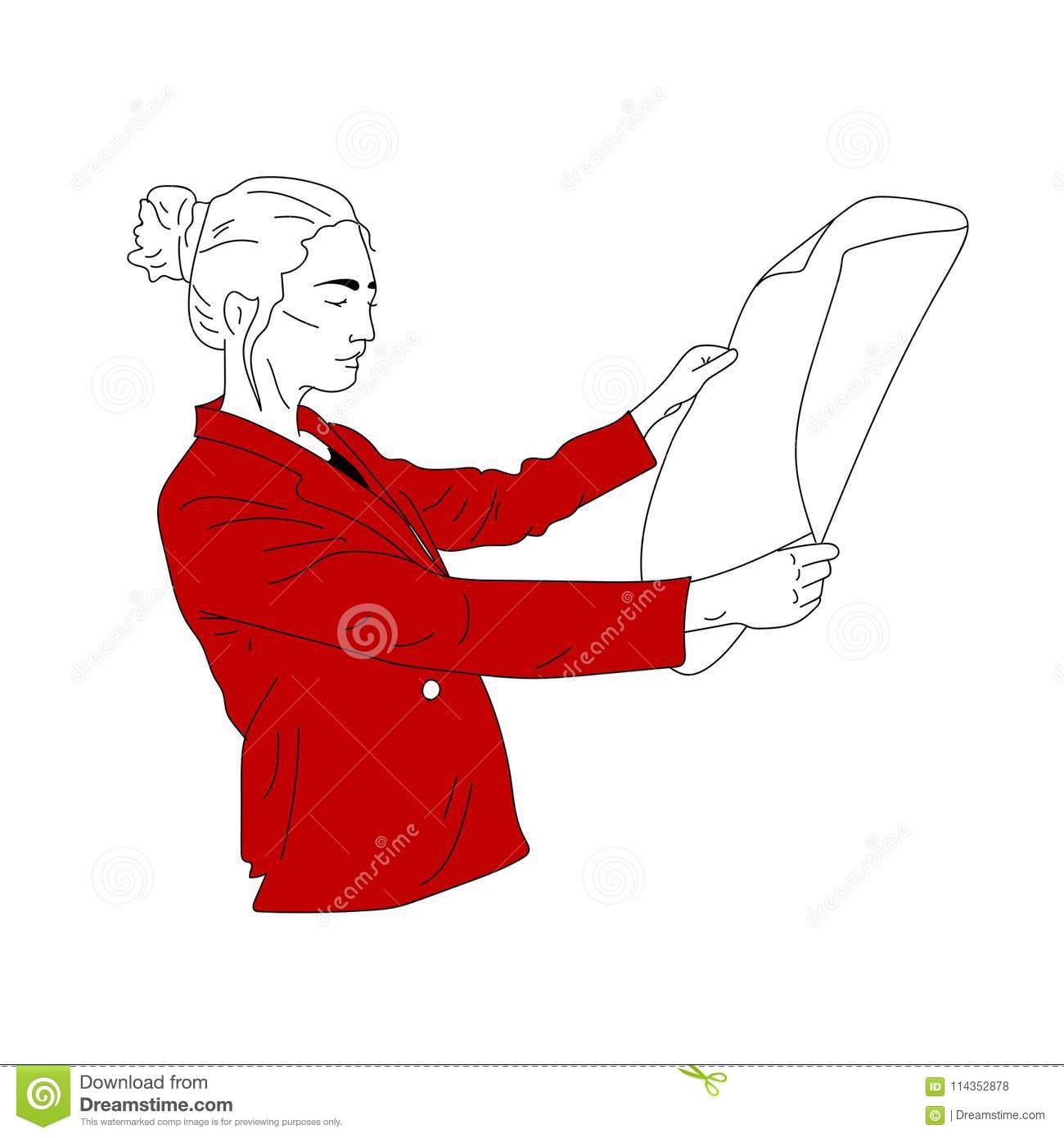 A business woman in a red jacket looks at the document, drawings, sketches.