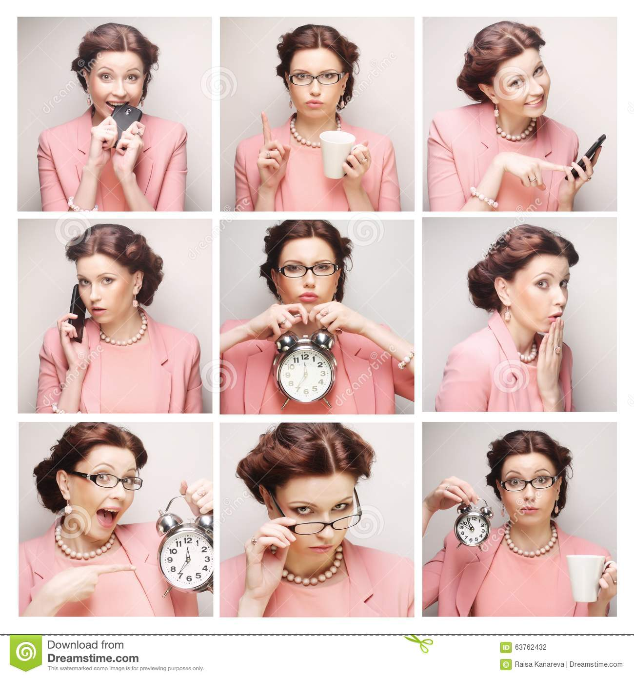 business woman s different facial expressions