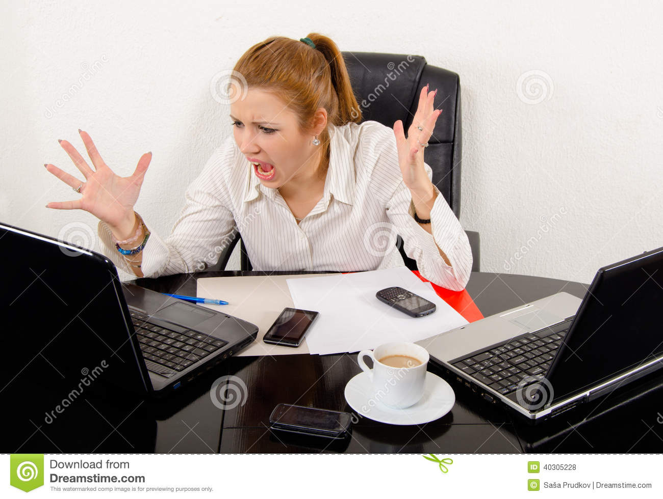 Business Woman Screaming In Frustration Stock Photo