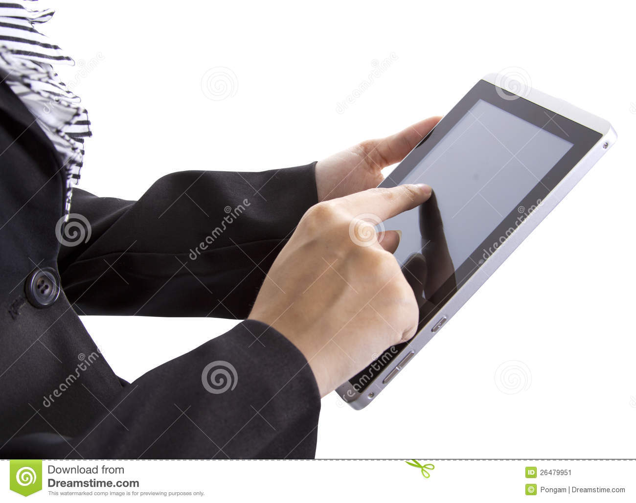 Business woman search on tablet