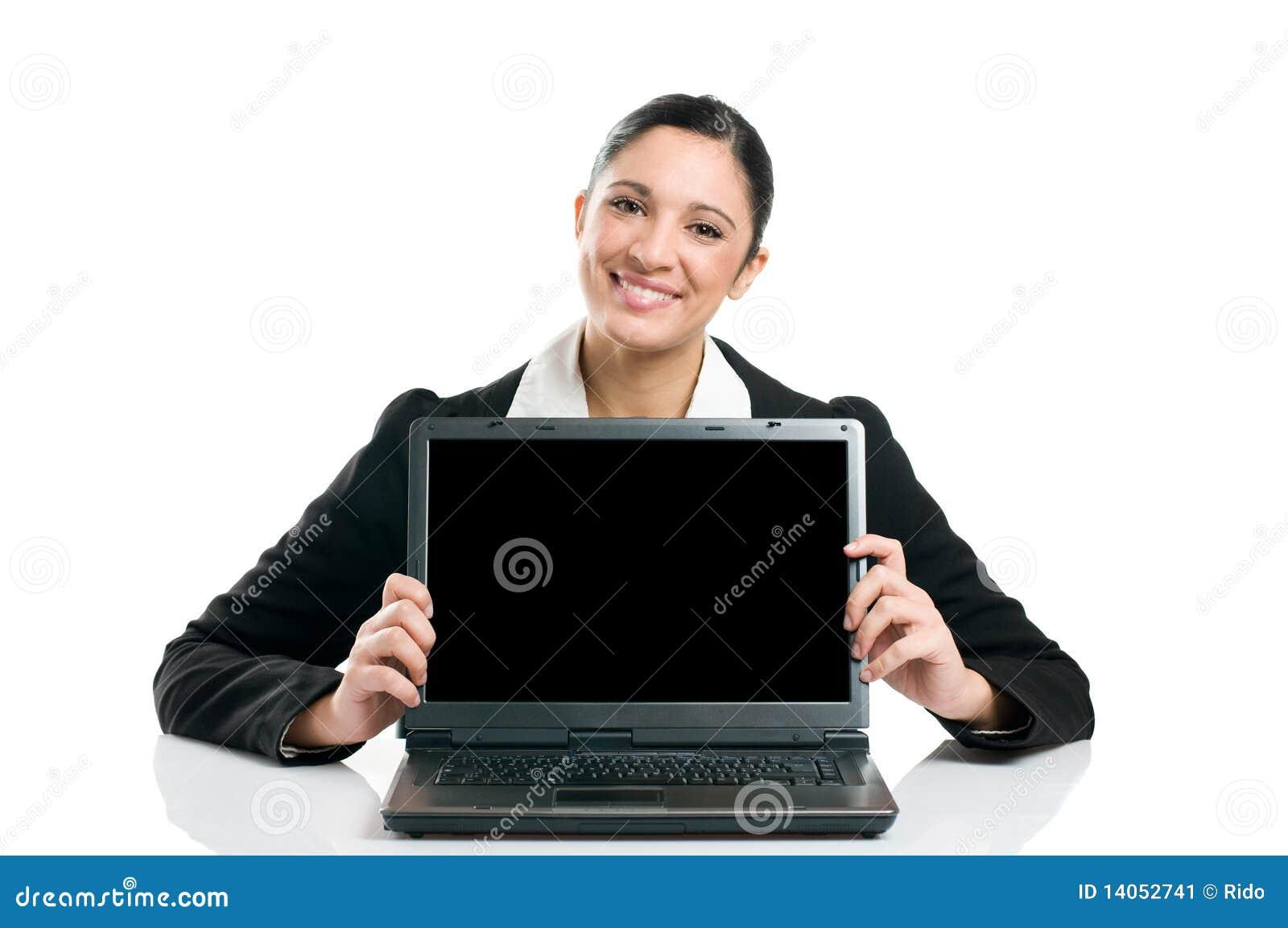 Business woman showing laptop screen