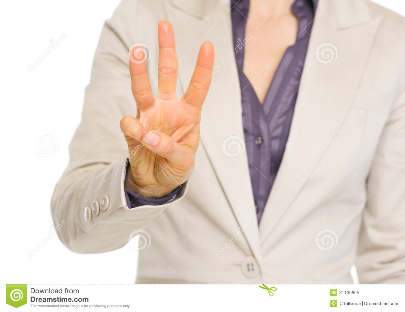 business woman showing three with fingers stock image
