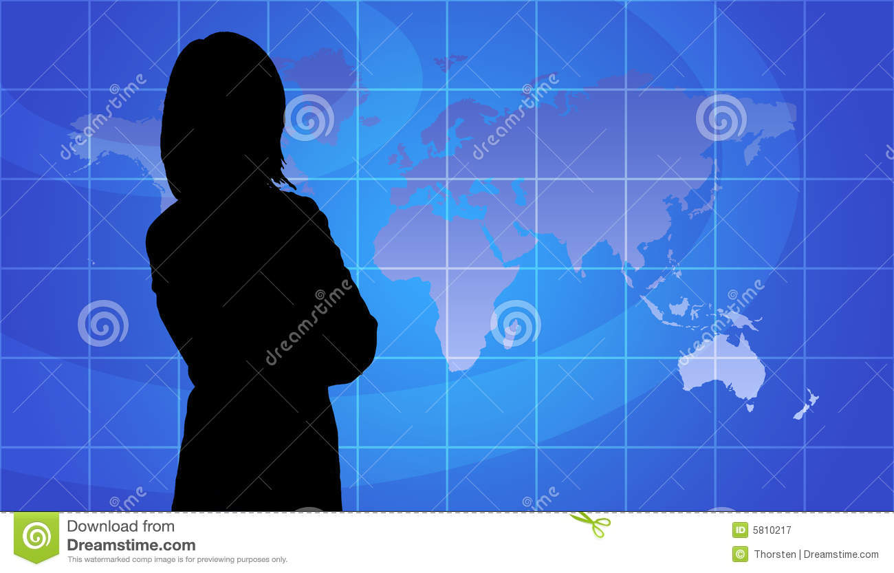 Business Woman Silhouette, World Map Background