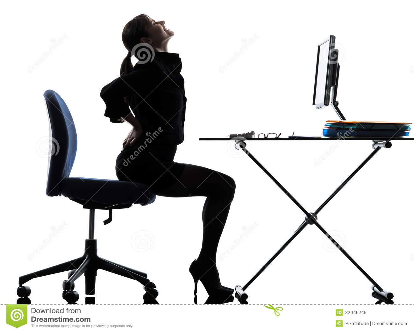 Business Woman Sitting Backache Pain Silhouette Stock