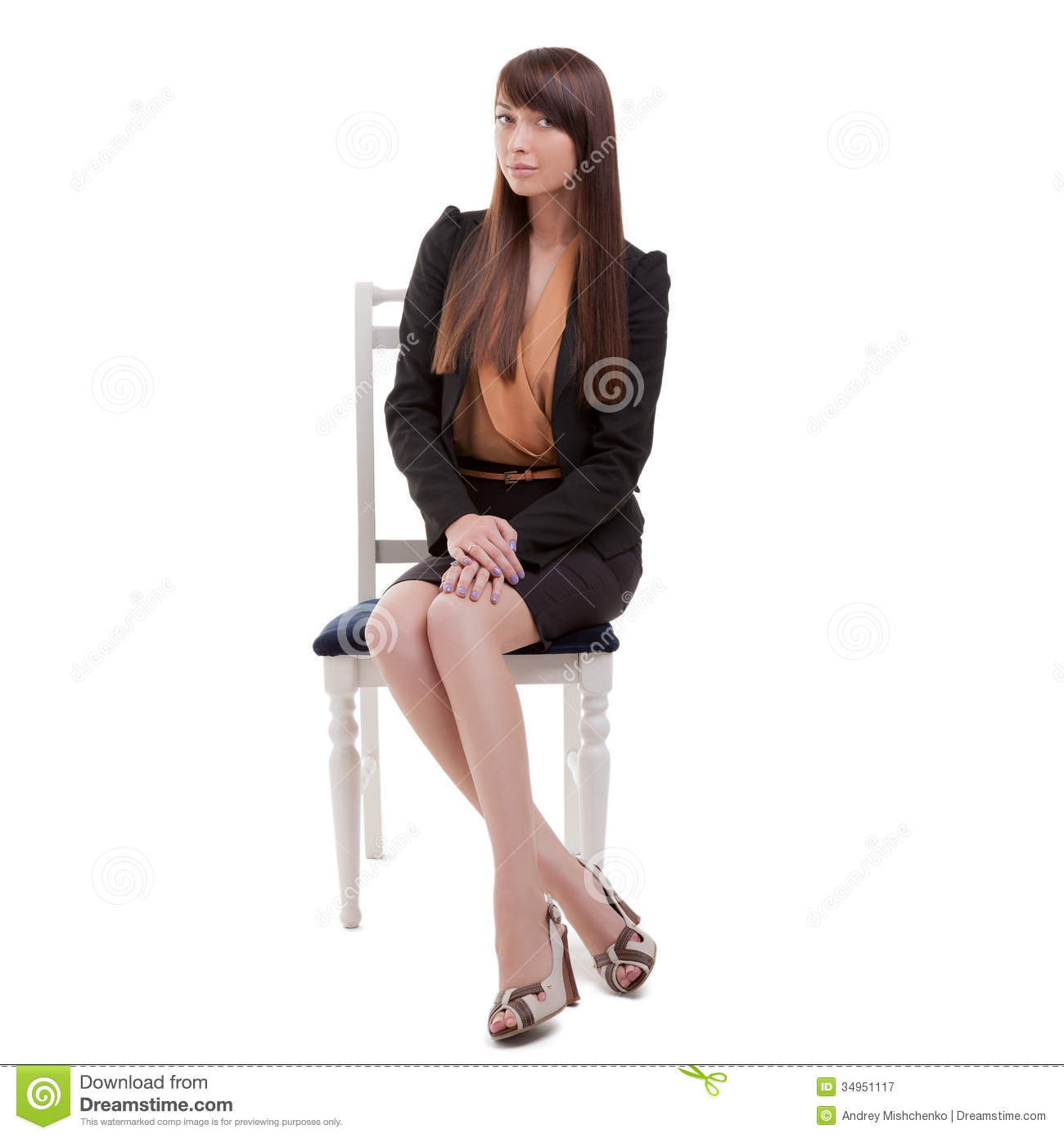 Business Woman Sitting In Chair Royalty Free Stock