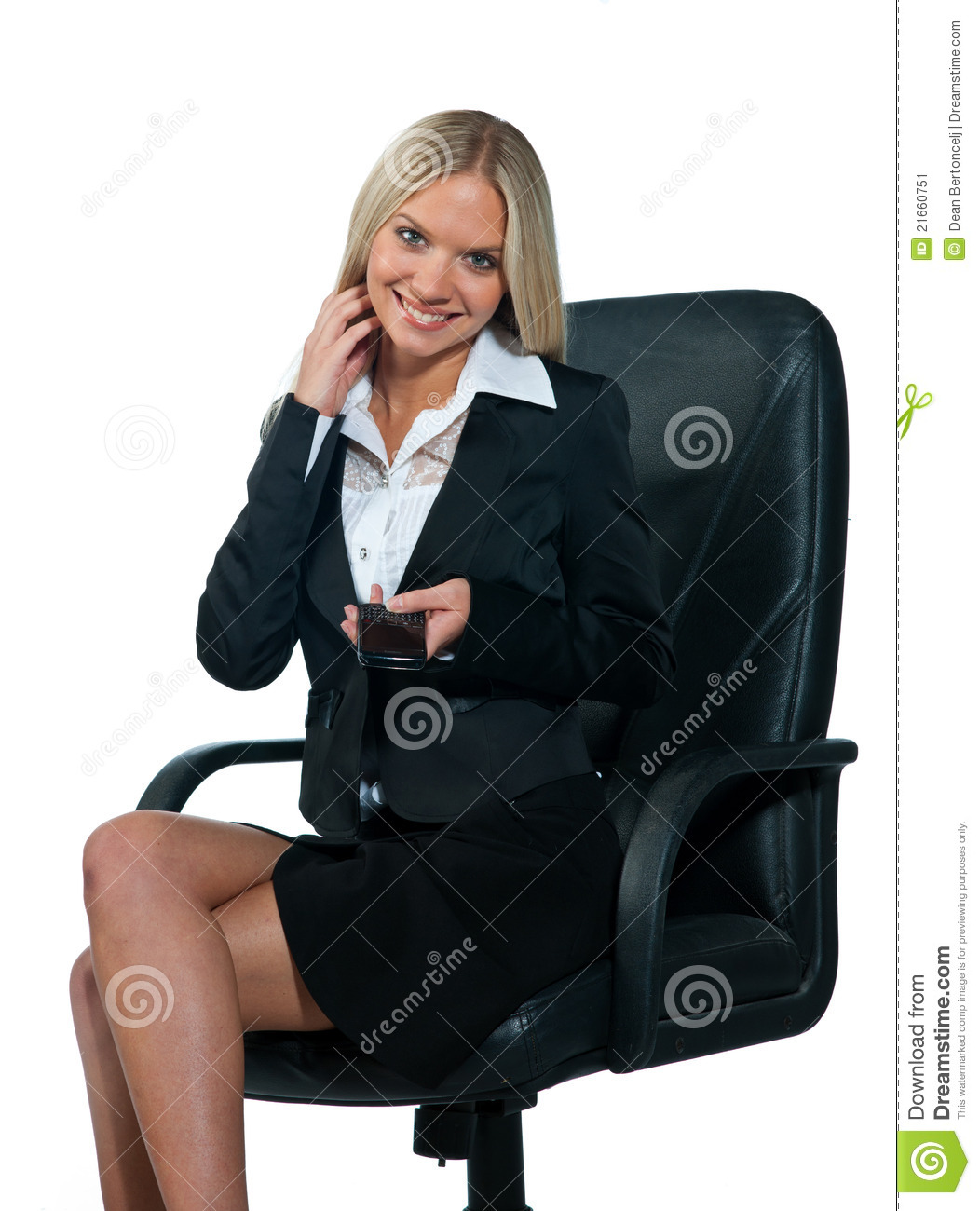Business Woman Sitting In Office Chair Stock Image Image