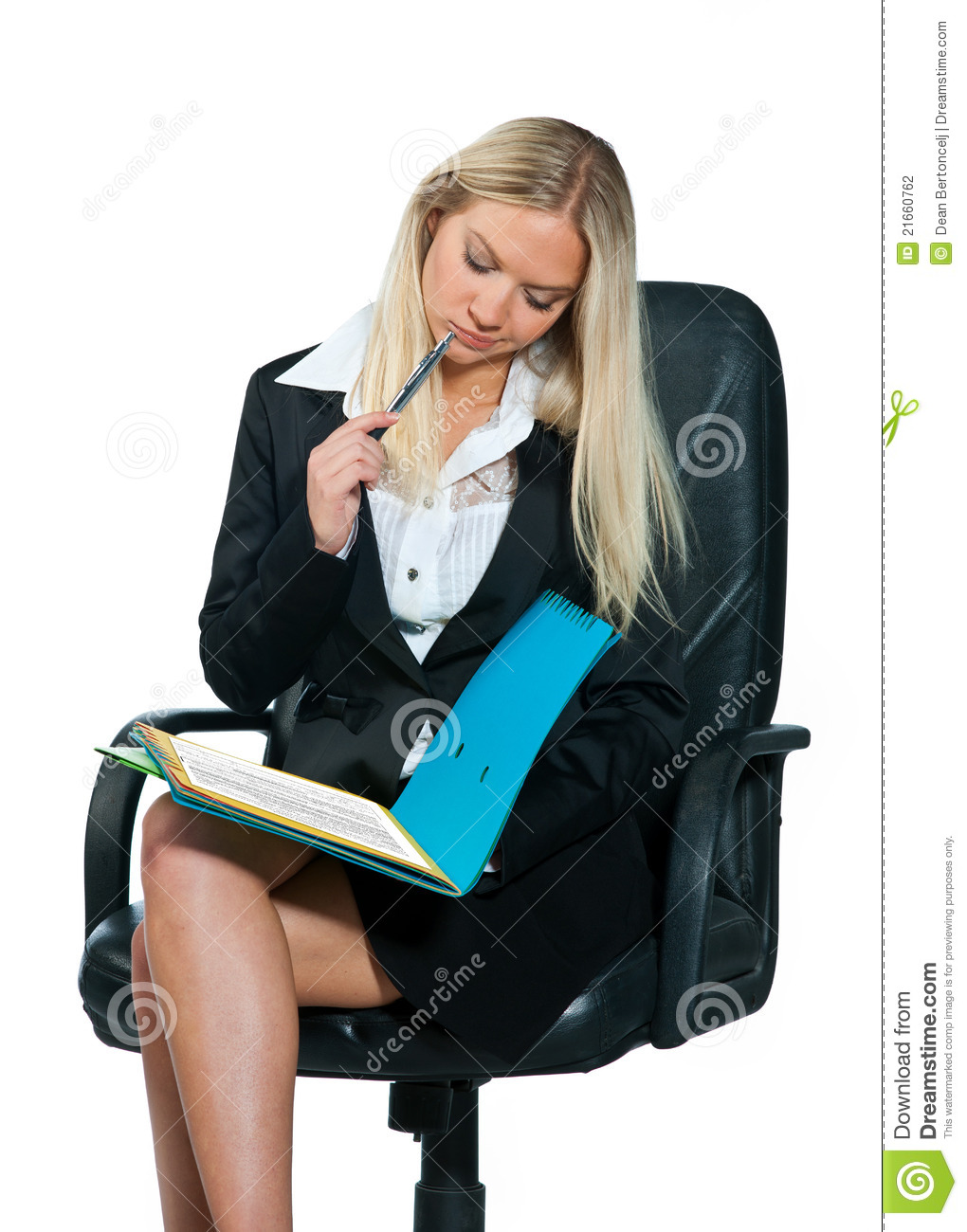 Business Woman Sitting In Office Chair Stock Photo Image