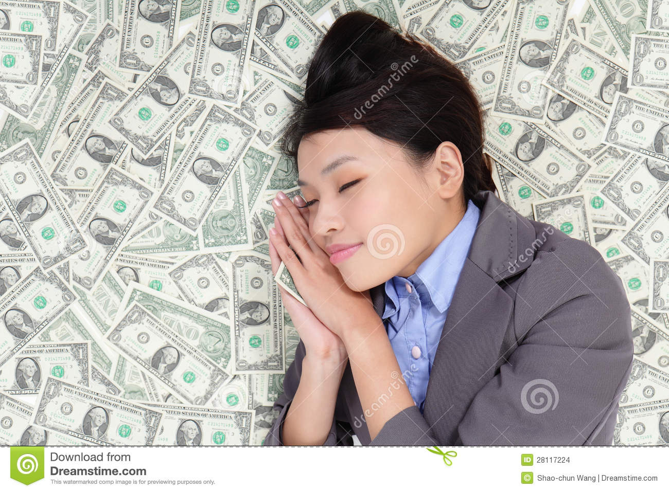 business-woman-sleeping-money-bed-281172