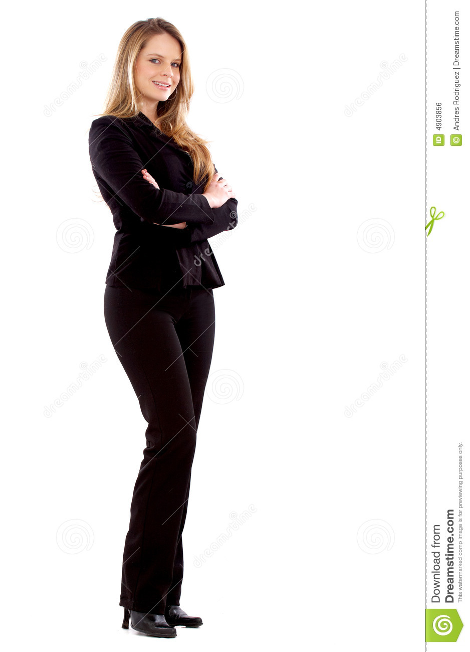 Confident business woman standing wearing elegant clothes - isolated ...
