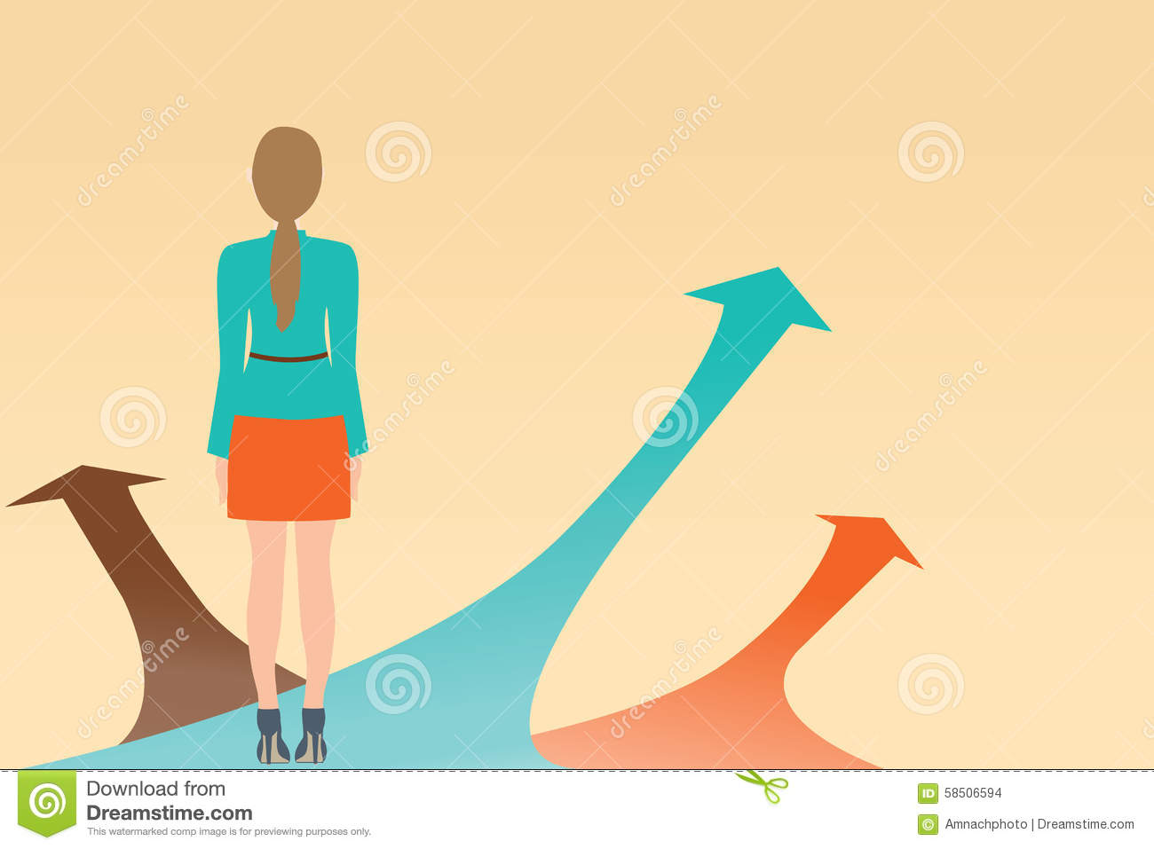 business woman standing on the arrow with many directions ways c stock vector