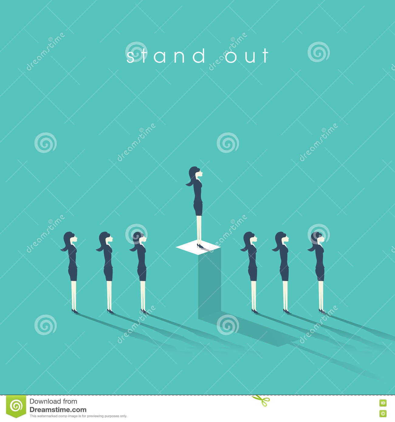 inequality concept vector illustration man versus w in business w standing out from the crowd businessw and concept of equality or inequality in