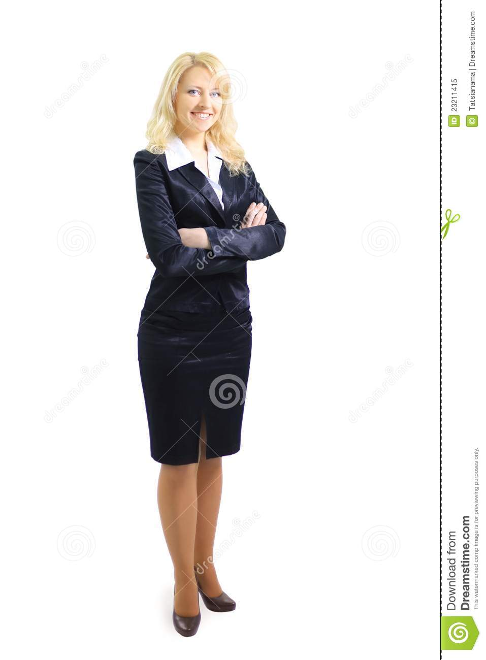 Confident business woman standing wearing elegant clothes - isolated