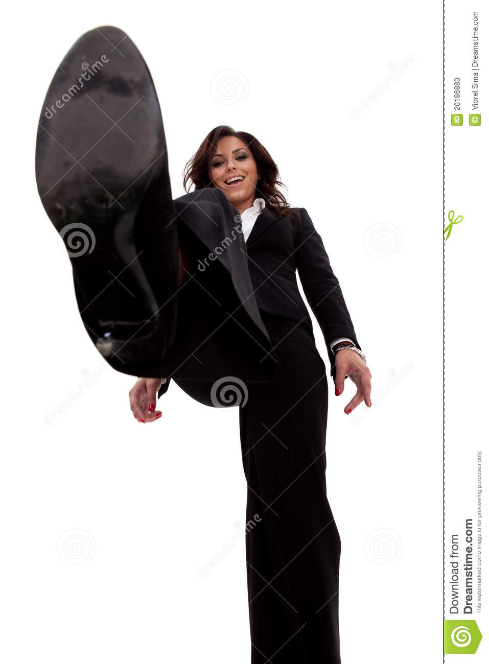 Business Woman Stepping On Something Stock Photo Image