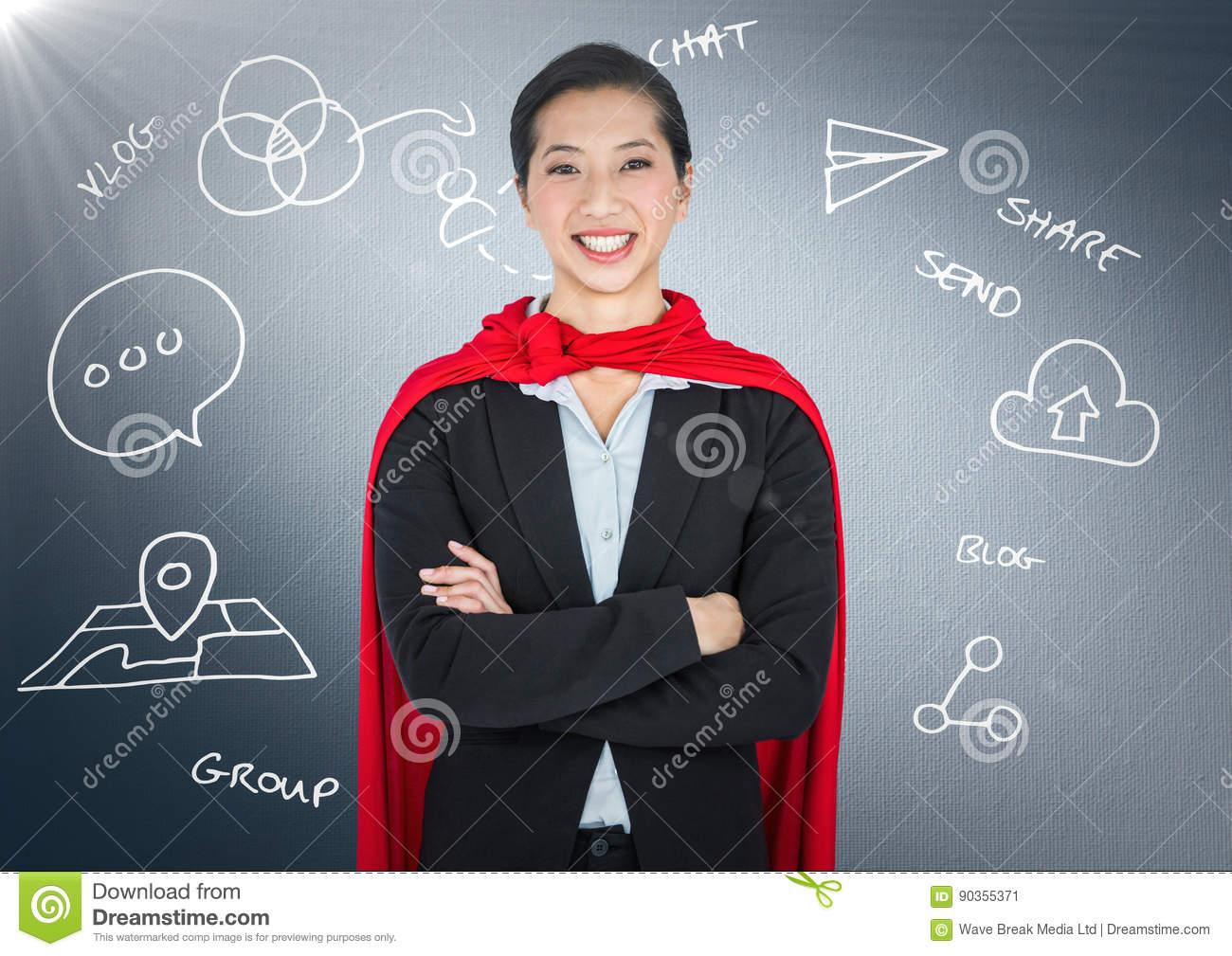 Business woman superhero with arms folded against navy background with white business doodles and fl