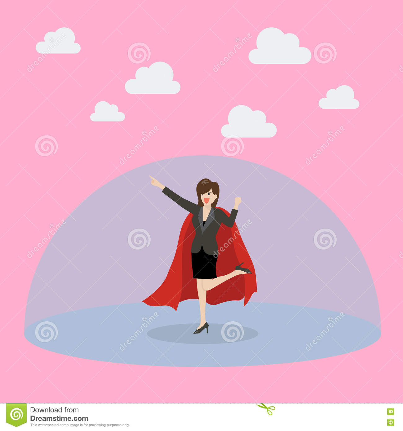 Business woman superhero with protection power