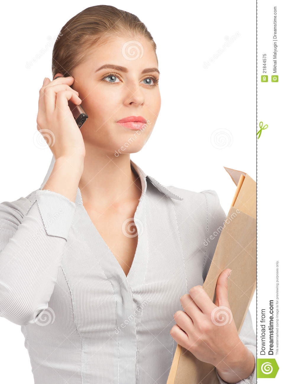 Business Woman Talking On Cell Phone Royalty Free Stock ...