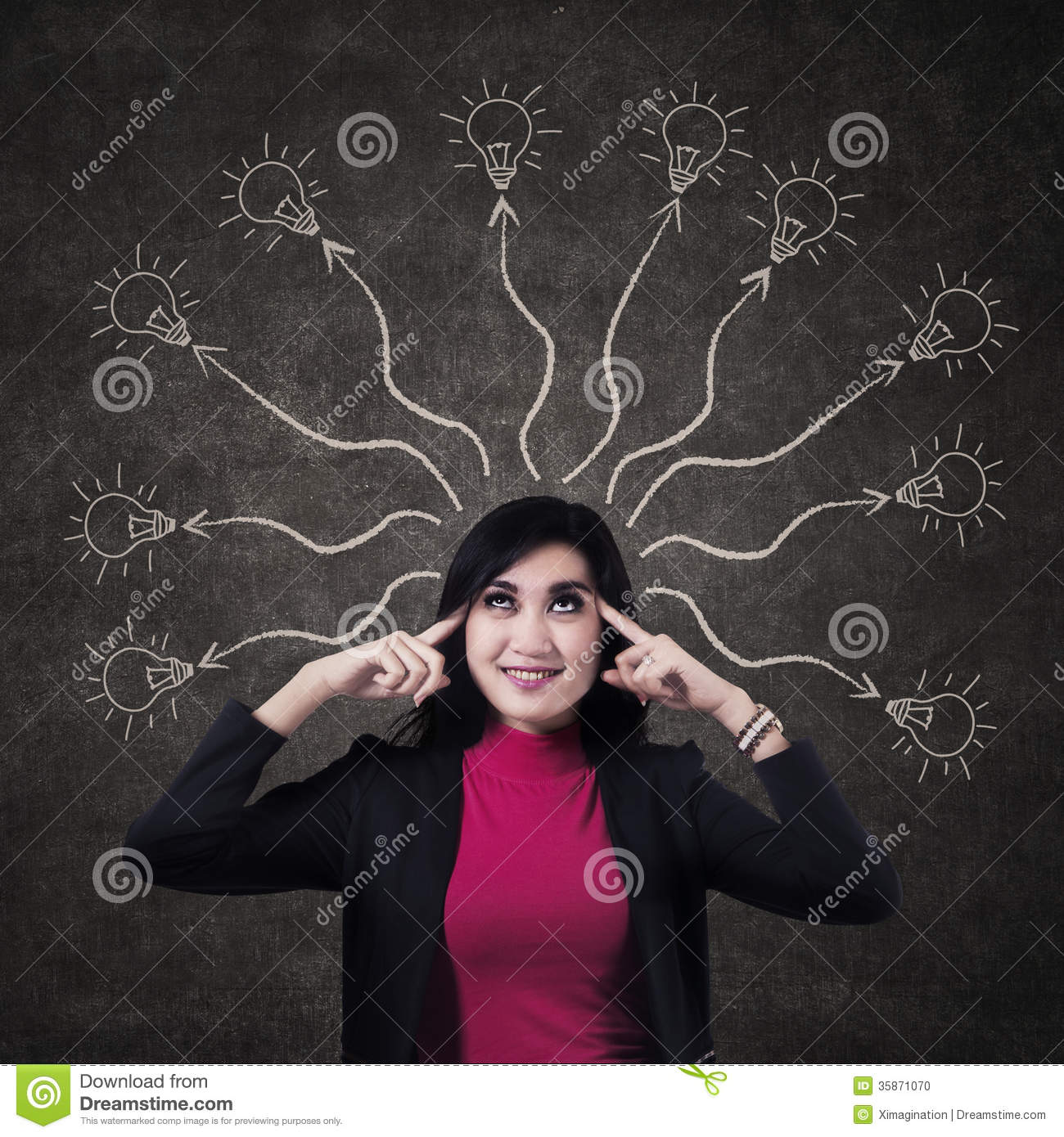 Business Woman Thinking Many Ideas Stock Photo - Image ...