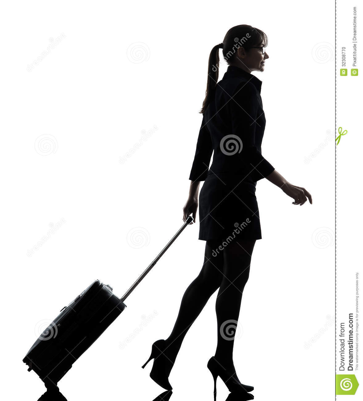 Business Woman Traveling Walking Silhouette Stock Photo ...