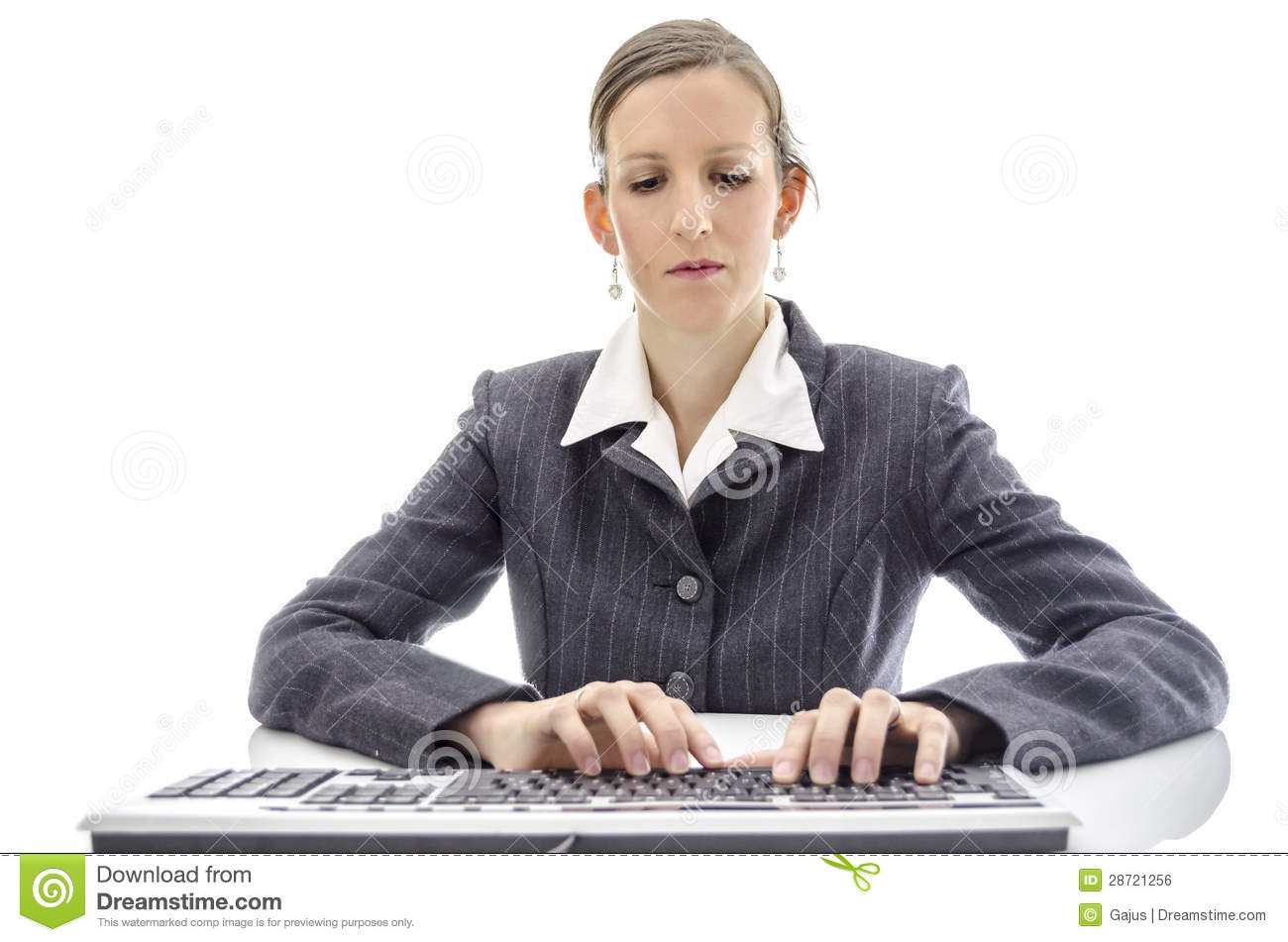 Business Woman Typing On Keyboard Stock Photo - Image of ...
