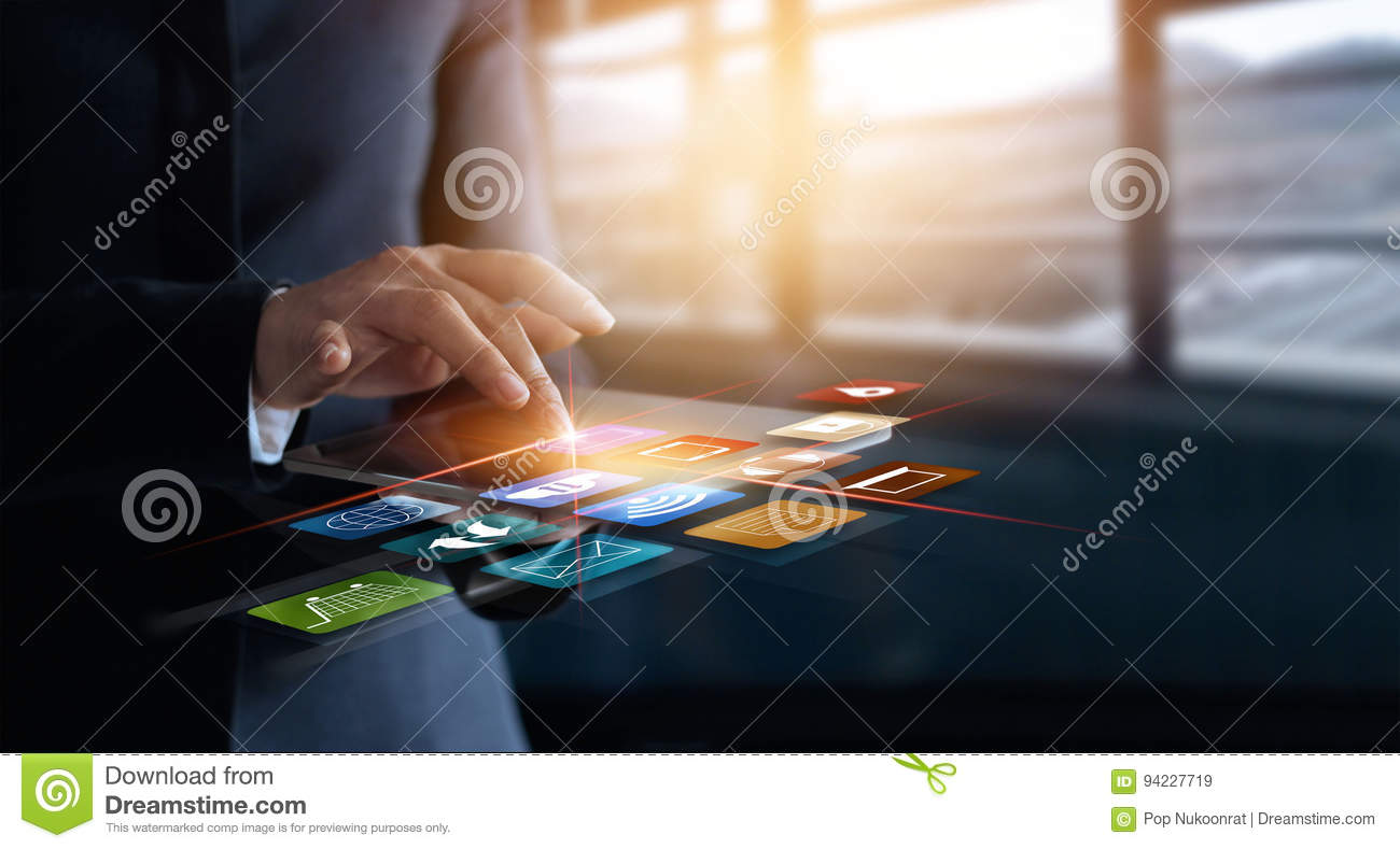 Business woman using mobile payments online shopping and icon cu