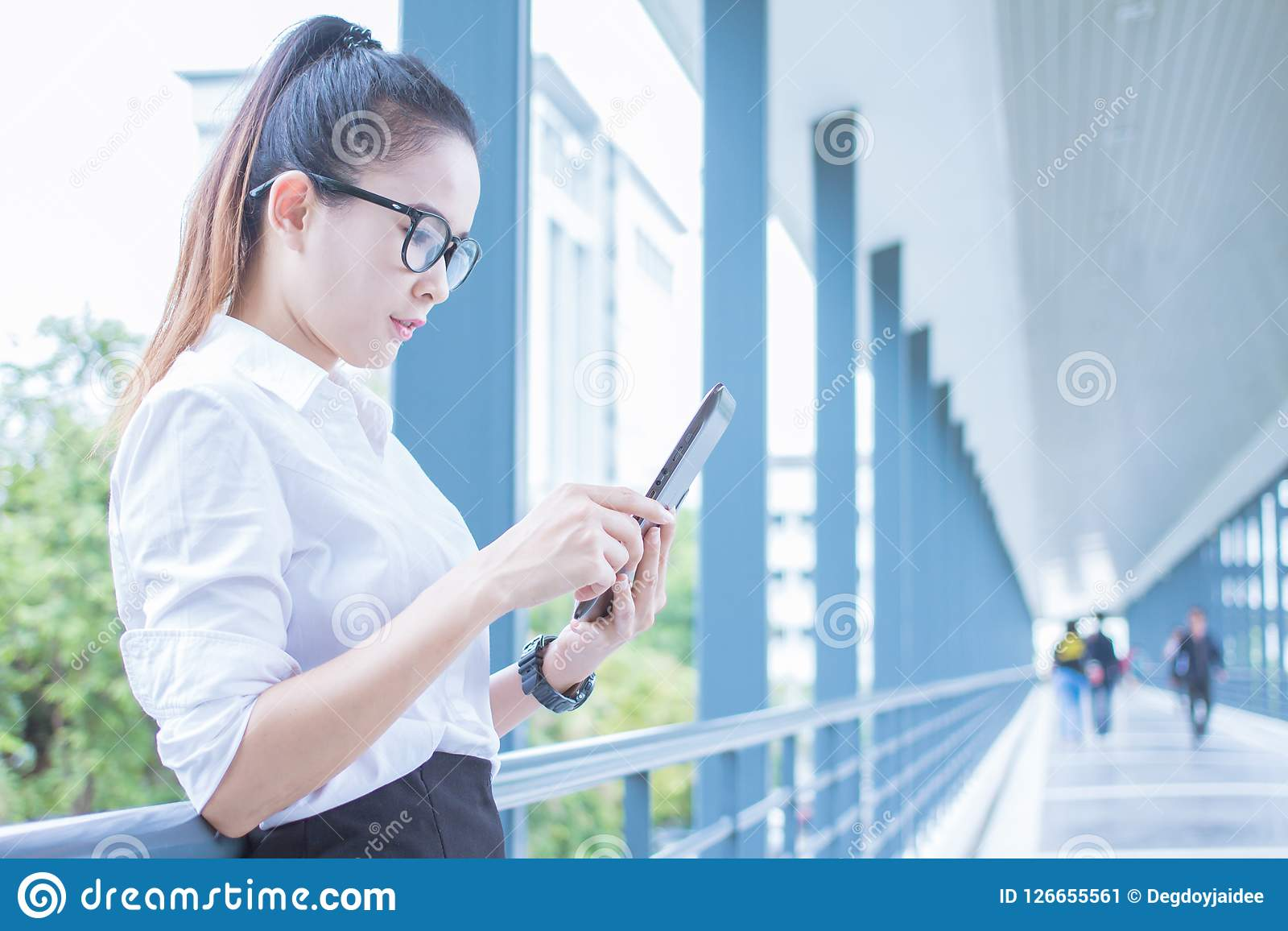 Business woman using tablet of working. Meetings the commercial activities in promoting. Together create a mutually beneficial.