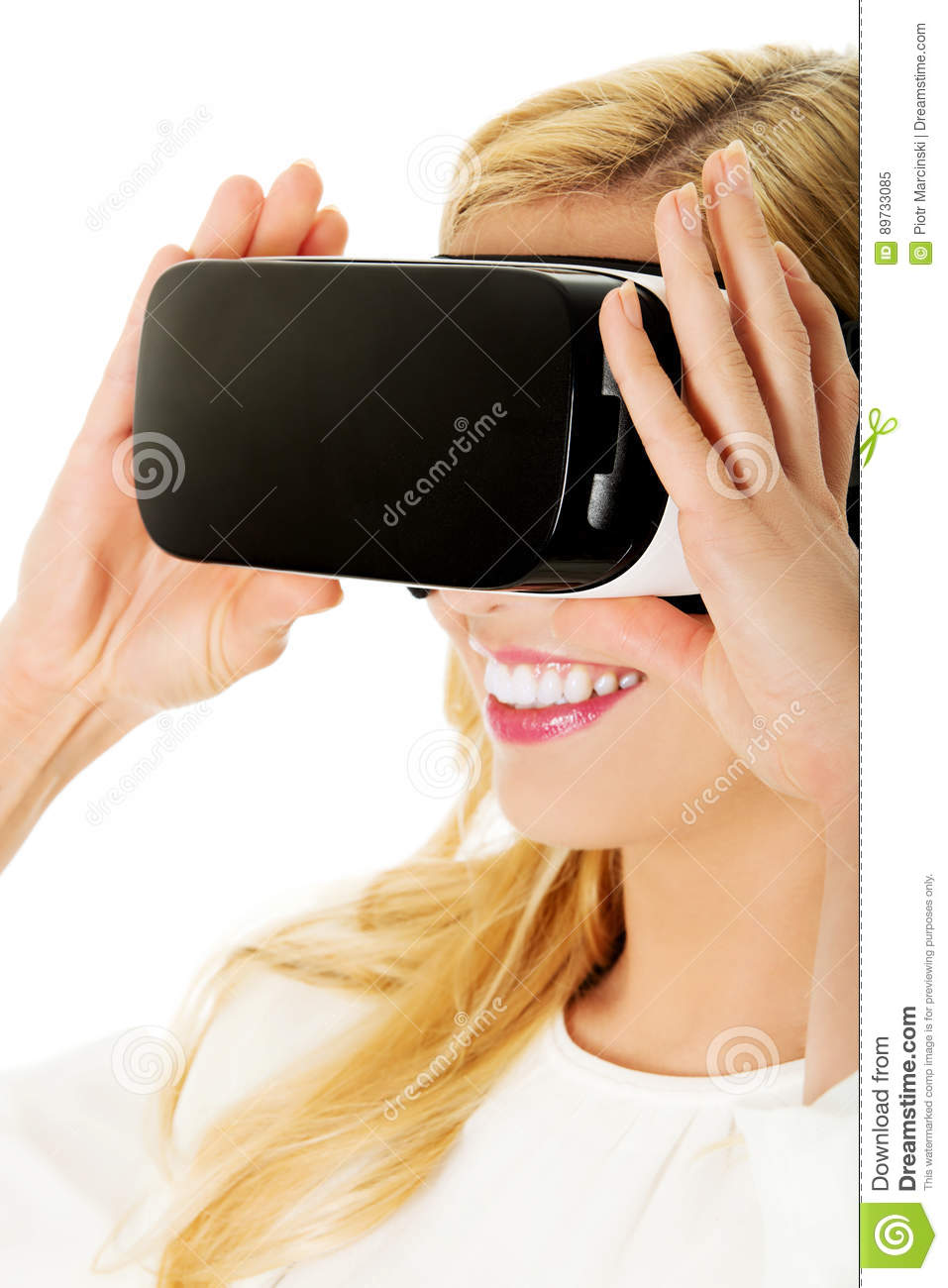 Happy Woman Getting Experience Using VR Headset Glasses Of