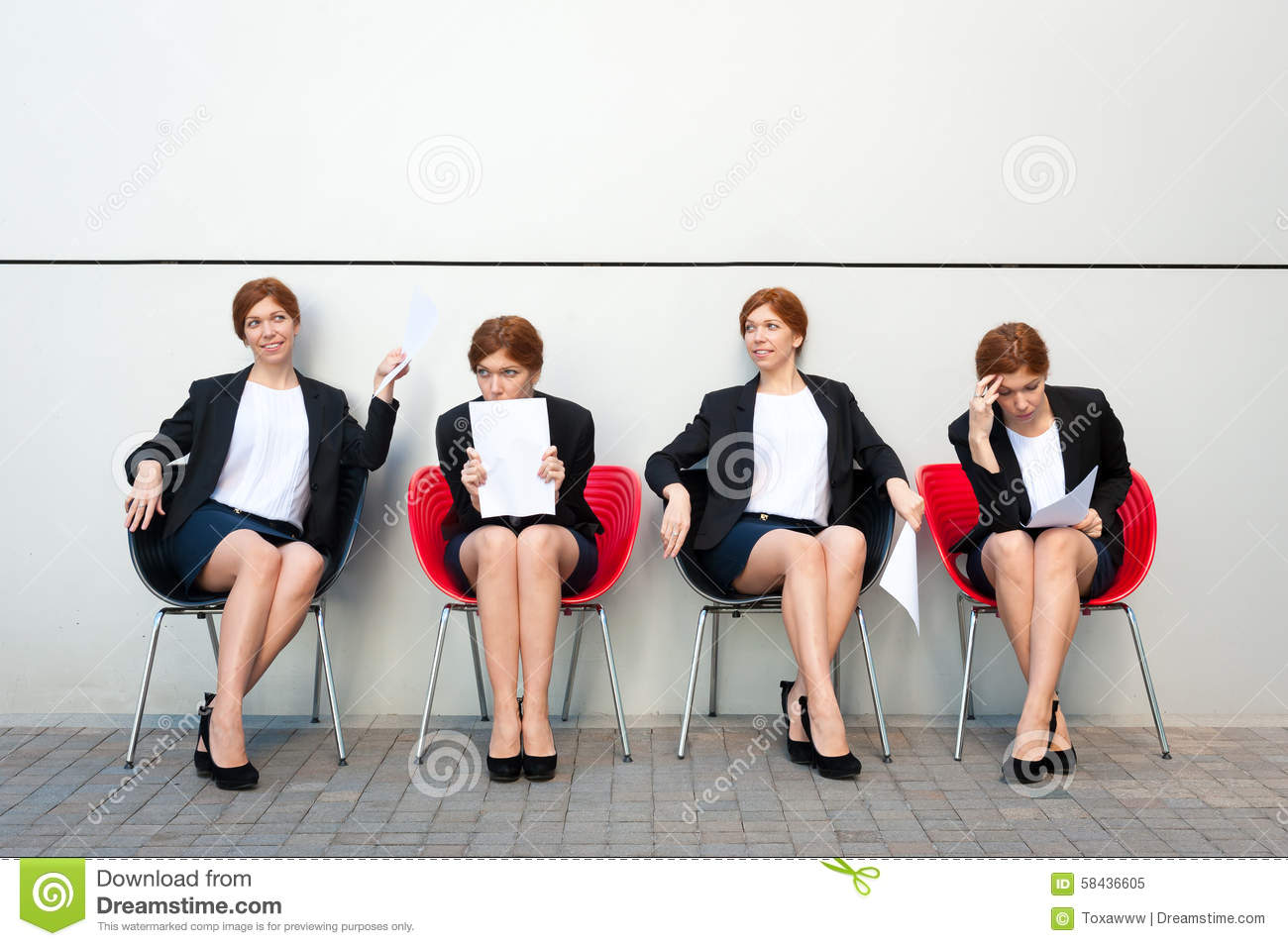 Business woman waiting for interview.