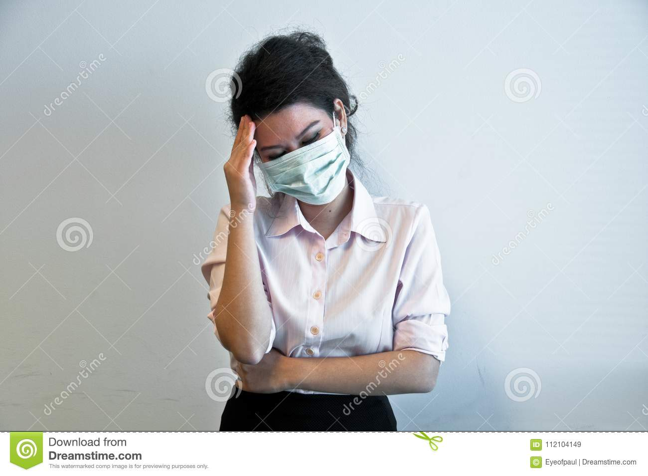 Stock Sick Woman Image - Of Hygiene And Business Mask Wear