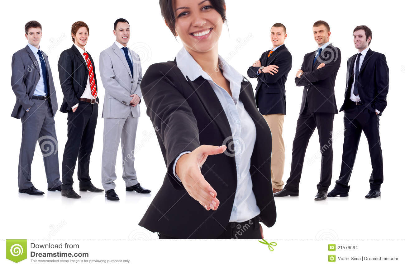 Business woman welcoming to her team
